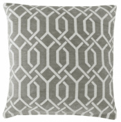 Grey & White 46cm Luxury Chenille Geometric Cushion Cover