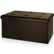 stool bench 80 x 38 x 40 cm Ottoman storage box bench stool CUBE SEAT BROWN