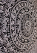 Indian Elephant Mandala Tapestry, Hippie Tapestries, Tapestry Wall Hanging, Indian Black & White Tapestry , Bohemian Dorm Decor Mandala Tapestries, Pyshedlic Tapestry, Hippy Mandala Tapestries Bedspread Wall Decor Queen Size 210cm X 230cm inches by Man ..