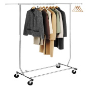 HLC Adjustable Metal Chome Heavy Duty Hanging Clothes Rail Hanging Garment Clothes Rail Rack with Shoes Shelf