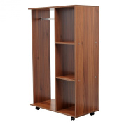 Homcom Mobile Open Wardrobe With Clothes Hanging Rail Storage Shelves Organiser Bedroom Furniture New