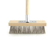 30cm Metal Wire Bristle Broom Brush Sweeping Deck Scrub Heavy Duty