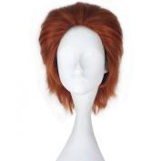 Miss U Hair Men's Short Straight Synthetic Auburn Colour Hisoka Anime Cosplay Full Wig Hair