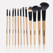 Ivation 12 Pc Leopard Makeup Brush Set with Travel Pouch
