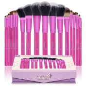 Ivation Cosmetics 20 Pieces Natural Facial Makeup Brush Set with Leather Pouch