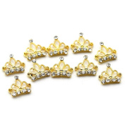 So Beauty 10pcs Alloy 3D Rhinestone Golden Crown Nail Art Tips Slice DIY Decoration