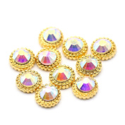 So Beauty 10pcs Alloy 3D Golden Sun with Rhinestone Nail Art Tips Slice DIY Decoration