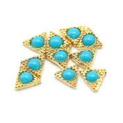 So Beauty 10pcs Alloy 3D Rhinestone Triangle Nail Art Tips Slice DIY Decoration Golden and Blue