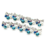 So Beauty 10pcs Alloy 3D Rhinestone Bow Tie Pearl Art Tips Slice DIY Decoration Silver and Lake Blue
