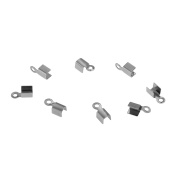 Stainless Steel Fold Over Cord Ends for Leather End Crimp Cap Findings Silver 100pcs, 10x4.5mm