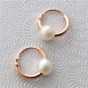 TINY Hoop Earrings, ROSE GOLD over silver, pearl charm, 8mm, endless hoops,nose,cartilage,ears,lips. with keeper bag & cloth