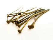 "140 Quality Solid Brass Head Pins- Jewellery Making Supplies Findings- Antique Brass/ Bronze- 35mm, 1.5"" inch,21 gauge"