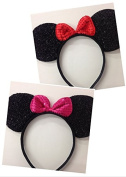 Lot of 12 Minnie Mouse Ears Black Red and Pink Bow Shimmer Headband Sequin Headband Birthday