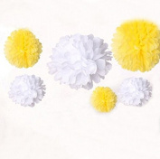 Krismile® New Arrival DIY 12pcs Mixed 3 Sizes White Yellow Tissue Paper Pom Poms Balls Flowers Wedding Birthday Party Decoration Accessories
