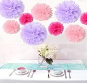 Krismile® Pack of 18PCS Mixed Pink Lavender Hot Pink Tissue Pom Poms Paper Flower Wedding Pompoms Birthday Party Bridal Shower Favour Decoration