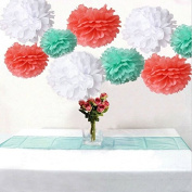 Krismile® Pack of 18 Mixed Coral Mint White Tissue Paper Pom Poms Flowers Ball Wedding Birthday Anniversary Party Decorative Flower