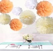 Krismile® Pack of 18PCS Mixed Sizes White Peach Ivory Tissue Pompoms Paper Flower Pom Poms Wedding Birthday Party Nursery Decoration