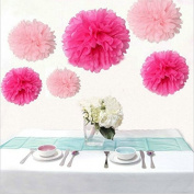 Krismile® Pack of 12pcs Mixed 3 Sizes Pink Hot Pink Tissue Paper Pom Poms Pompoms Wedding Party Baby Shower Room Nursery Decoration
