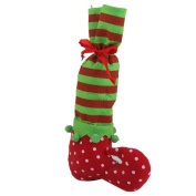 Christmas Holiday Stocking Elf Boots Stripe Polka Dot Gift Bag