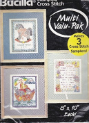 Bucilla Stamped Cross Stitch Birth Records #64185 Three 20cm x 25cm Samplers Noah's Ark Rocking Horse