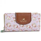 ETIAL Women's Vintage Floral Zip Wallet Faux Leather Card Holder
