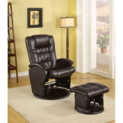 Coaster Rimini Euro Faux Leather Glider Recliner and Ottoman Set in Brown by Coaster Home Furnishings