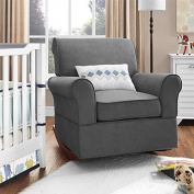 Baby Relax The Mackenzie Microfiber Plush Nursery Rocker Chair, Grey by Baby Relax