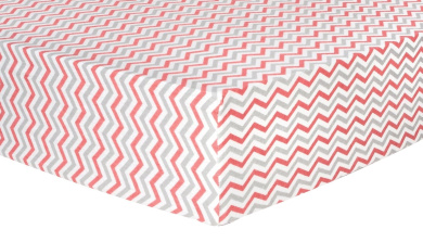 Trend Lab Chevron Deluxe Flannel Fitted Crib Sheet, Coral and Grey