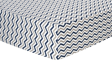 Trend Lab Chevron Deluxe Flannel Fitted Crib Sheet, Navy and Grey