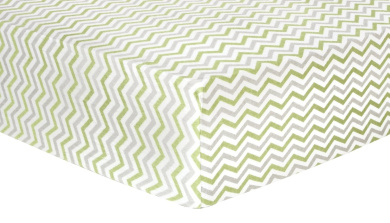 Trend Lab Chevron Deluxe Flannel Fitted Crib Sheet, Sage and Grey