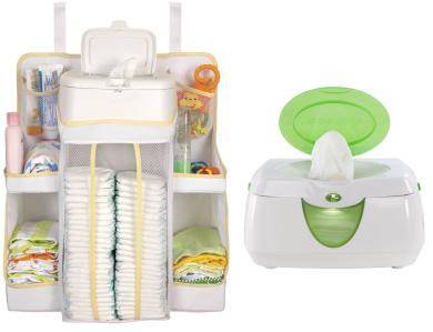 Dexbaby Nursery Organiser in White with Wipes Warmer