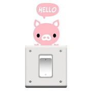 Switch Wall Stickers Wall Decals, Cartoon Pig PVC Switch Sticker