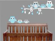 Blue Owl Wall Decals / Owl Stickers / Owl Nursery Wall Decor