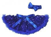 Wedding Dress Royal Blue Sequin Baby Skirt Pettiskirt Tutu Headband Set 3-12m
