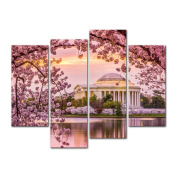 4 Pieces Modern Canvas Painting Wall Art The Picture For Home Decoration Washington Dc At The Tidal Basin And Jefferson Memorial In Cherry Blossom Spring Architecture Moument Print On Canvas Giclee Artwork For Wall Decor