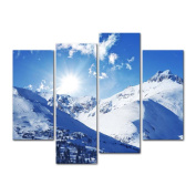 4 Pieces Modern Canvas Painting Wall Art The Picture For Home Decoration Sunny Winter Rocky Mountains Landscape In Colorado United States Landscape Jokul Print On Canvas Giclee Artwork For Wall Decor