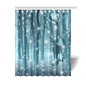Stag in Winter Forest Reindeer Waterproof Polyester Fabric Bathroom Shower Curtain with 12 Hooks 150cm (w) x 180cm (h)- Bathroom Decor