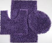 "3 Piece Ultra Soft Microfiber Mixed Shiny Chenille Bath Mats Set Large Mat 20""x""32 Contour Mat 20""x""20 Lid 20""x""18"