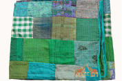Traditional Indian Silk Patola Quilt , Queen Size 220cm X 270cm inches , Kantha Stitch Gudri Bedspread and Bed Cover and Raill , Green Colour, By Mango Gifts India