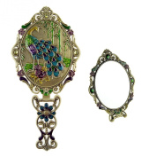 Ivenf Large Size Vintage Metal Handheld Oval Make-Up Mirror, Peacock On Rock In Bamboo Forest, Bronze