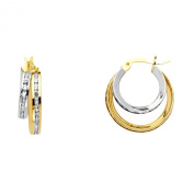 14k Two Tone Gold 5mm Thickness Double Huggie Hoop Earrings