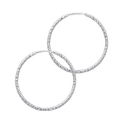 14k White Gold 1mm Thickness Endless Hoop Earrings