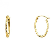 14k Yellow Gold 1.8mm Thickness Oval Shape Hoop Earrings