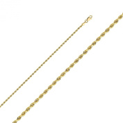 14k Yellow Gold 2mm Solid Rope Diamond Cut Chain Necklace