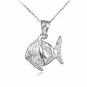 925 Sterling Silver Clown Fish Pendant Necklace