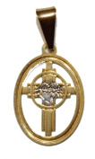 Sacred Heart Cross Medal with 46cm Chain - Sagrado Corazon De Jesus Medal 18k Gold Plated Medal with 46cm Chain