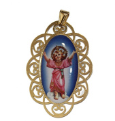 Divino Niño Jesús Medalla - The Christ Child Medal 18k Gold Plated Medal with 46cm Chain