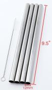 4 SUPER WIDE Stainless Steel 24cm Long x 1.3cm Wide Drink Straw Smoothie Thick Milkshake -CocoStraw Brand