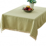 R.LANG Yarn Dyed Fine Grid Fabric Lace Rectangle Spillproof Tablecloth Light Green 130cm x 180cm