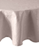 Garnier Thiebaut, Mille Charmes (A Thousand Charmes), Taupe, Woven French Tablecloth, 180cm Round, 100% Damask Cotton